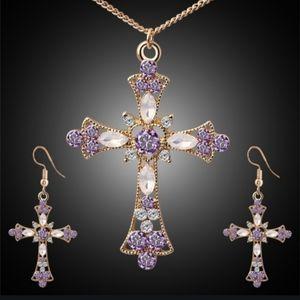 NWT Gold Purple Cross Earrings Necklace Set!